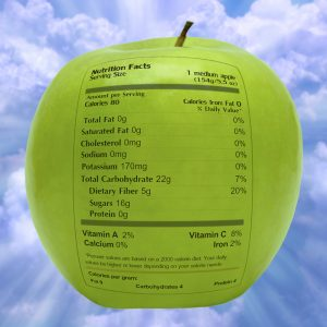 Apple With Nutrition Label